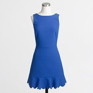 Cobalt J. Crew Factory dress. Scallop hem.
